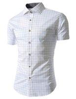 ingrosso camicie maniche corte 4xl-Piccolo Plaid Shirt Men Mens Dress Nuovo cotone manica corta estate camicie button Casual Giù Chemise Homme Camisa Masculina XXXL
