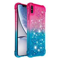 жидкокристаллический чехол для телефона iphone оптовых-Чехол для телефона с блестками Love Heart для iphone XS MAX XR 6s 7 8 plus Противоударная жидкая пленка для iPod Touch 6 5 Bling Блестки