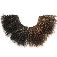 cheveux brésiliens bouclés 8inch achat en gros de-Bob Vague De Cheveux Humains Crépus Bouclés 4 PcsLot 8inch Double Dessiné Ombre Cheveux Brésiliens Bundles Blonde F1B / 27 # Vierge Cheveux Bouclés 200g