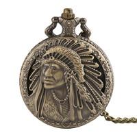 Wholesale watches for old men for sale - Group buy Vintage Ancient Old Man Portrait Design Quartz Fob Pocket Watch Bronze Pendant Necklace Chain Souvenir Gift for Men Women