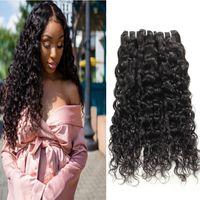 Wholesale loose kinky curly virgin hair resale online - Indian Deep Loose Wave Brazilian Body Wave Hair Extensions Peruvian Virgin Human Hair Bundles Deep Wave Water Kinky Curly Hair Bundles Weft