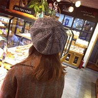 Wholesale bud time for sale - Group buy Hats Woman And Winter Keep Warm Bud Hat England Lattice Restore Ancient Ways Leisure Time Painter Fashion Woolen Beret Woman
