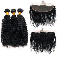 Wholesale kinky curl hair ombre for sale - Leila Kinky Curl Hair Bundles With Frontal Peruvian Brazilian Deep Hair Lace Frontal With Bundles Human Hair Bundles With Closure Non Remy