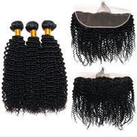 brezilya derin kıvırma saç paketleri toptan satış-Leila Kinky Curl Saç Demetleri Ile Frontal Perulu Brezilyalı Derin Saç Demetleri Ile Dantel Frontal İnsan Saç Demetleri Ile Kapatma Olmayan Remy
