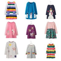 Wholesale preppy clothing patterns for sale - Group buy Girl Long Sleeve Unicorn Dress Summer Kids Clothing Animals Appliqued Kids Princess Dress for Baby Clothing Patterns Printed Party Dress