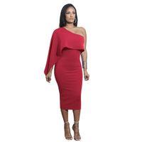 bir uzun kollu mini elbise toptan satış-Yeni Sıcak Dantel Up Parti Mini Elbise Kadınlar Kırmızı Bir Omuz Uzun Kollu Zarif Bodycon Elbiseler Seksi Kulüp Aşınma Kış Bandaj Elbise Vestidos