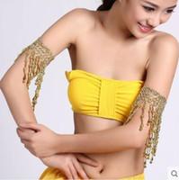 knöchelmanschettenketten großhandel-Gypsy Jewelry Bauchtanz Armmanschetten Armband Quaste Armband Knöchel Kette Gold