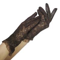 ingrosso guanti di pelle di pecora delle signore-Guanti in pizzo moda-donna 2019 Nuova primavera Donna Guanti ultrasottili Pelle solida Moda donna Pelle di pecora morbida Donna