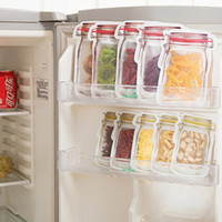 lebensmittelbeutelbeutel großhandel-Mason Jar Shaped Food Container Kunststoff sichere Reißverschlüsse Aufbewahrungsbeutel wiederverwendbare umweltfreundliche Snacks Tasche Kunststoff-Aufbewahrungsbeutel riechen Beweis Clip