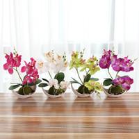 hochzeitstisch orchideen großhandel-New Design Hochzeit Dekoration Künstliche Schmetterling Orchid Bonsai Dekorative Gefälschte Blume mit Topf Ornamente Heim Tabelle Großhandel