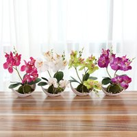 Wholesale plum pot for sale - Group buy New Design Wedding Decoration Artificial Butterfly Orchid Bonsai Decorative Fake Flower With Pot Ornaments Home Table