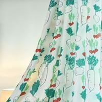 rote farbvorhänge großhandel-Neue moderne Nordic Rettich Hause Druckvorhänge frisch gestreiften Vorhänge Wohnzimmer Schlafzimmer net roten Vorhang 2 Farbe optional