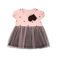 Wholesale cute baby polka dot dress for sale - Group buy Cute Toddler Kids Baby Girls Sundress Polka Dots Short Sleeve Tutu Tulle Princess Dress Lace Cotton Patchwork Girl Dress M Y