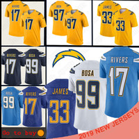 ingrosso joey bosa jersey-Los Angeles Jersey caricatore 17 Philip Rivers 33 Derwin James 99 Joey Bosa 97 Joey Bosa uomini pullover di football T-shirt