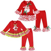 Wholesale embroidery clothes for kids for sale - Group buy Baby Girl Clothes for Christmas New Kid Clothes Girl Xmas Santa Flare Sleeve Top Pants Embroidery cute Outfit Set Girls Clothing Sets M285