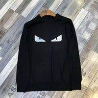 eşsiz hoodies sweatshirts toptan satış-Erkek Tasarımcı Kazak Sonbahar Benzersiz Gözler Desen Boncuk Kazak Terry Lüks Kapüşonlular Yuvarlak Yaka Süveter Artı Boyutu Tops