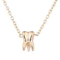 ingrosso doni a forma di dente-Collane a forma di denti semplici semplici della lega della lega dell'oro per la collocazione di fidanzamento unisex Collana dei monili della collana del pendente della catena dell'oro all'ingrosso