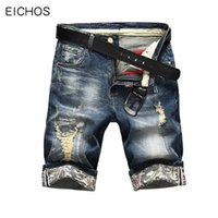 kore kot pantolon şortu toptan satış-Yaz Rahat Ince Kısa Homme De Marque Kore Gençlik Erkek Denim Şort Esneklik Sıkıntılı Skinny Jeans Erkekler