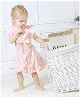 ingrosso ombelico a farfalla-2019 neonate Abiti farfalla navel manica a volo plaid top + gonna irregolare 2 pezzi set di abbigliamento neonato abiti tuta per bambini