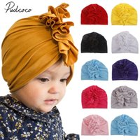 Wholesale baby beanies cotton solid for sale - Group buy Toddler Kids Baby Girl Turban Cotton Beanie Solid Ruffle Candy Color Hat Cap Kids Accessories Head Wrap Adjustable India Hat Cap