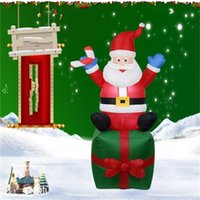 Wholesale decorating boxes resale online - Sold Well Santa Claus And Gift Box Inflatable Model LED Christmas Home Garden Decorate Inflation Props High Quality Polyester Fiber hcH1