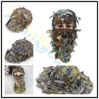tam av külotlu kamuflaj giysileri toptan satış-3D açık Geely giyim tam yüz maskesi hood başlık Camo caps balıkçılık kamuflaj avcılık şapka şapkalar maskeleri bırakır