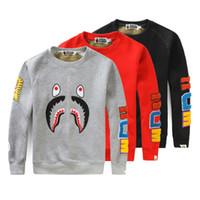 erkek polar kazak hoodies toptan satış-BAPE Erkek Tasarımcı Hoodies Bape Hoodies Erkek Kadın Uzun Kollu Siyah Kırmızı Gri Kazak Polar Tişörtü Boyutu M-2XL