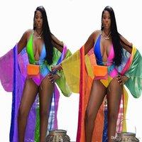 trajes boêmios venda por atacado-Boêmio summer beach treino mulheres set moda sexy cor impressão playsuit + casaco casaco duas peças ternos roupas casuais