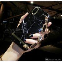 metal sevimli kız toptan satış-Mytoto Lüks telefon kılıfı için iphone 7 artı 8 6 6 s X XR XS MAX Sevimli kız kadın Mermer Metal Taş Bilezik Silikon Koruma kapak