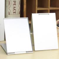 серебряное прямоугольное зеркало оптовых-New Aluminum Ultra-thin Make Up Mirror Pocket Mirror Cosmetic Rectangle  Mirrors Foldable Silver