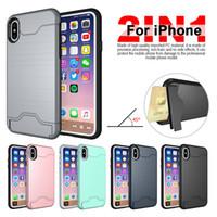 iphone6 kılıfı fırçalanmış toptan satış-Yeni iPhone Xs Max Fırçalanmış Kart Case Kapak iphone6 için / 7/8 artı Braketi Telefon Kılıfı