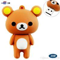 Wholesale brown usb flash resale online - 32GB USB Flash Drive with Cute Rilakkuma Shape G Memory Stick U Disk Brown