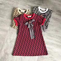 kinder modisches hohes kleid großhandel-Mädchen Kleid Sommer Mädchen Kinder Kurzarm Mode F Brief gedruckt Kleid Kinder Designer Baumwolle Kinder Fliege Kleid hohe Qualität