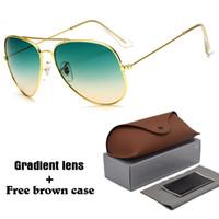 солнцезащитные очки для движущихся линз оптовых-Высокое качество Pilot Солнцезащитные очки Мужчины Женщины Марка Дизайнер очки для вождения UV400 Goggle Металлический каркас с градиентной линзой с бесплатным коричневым корпусом и коробкой