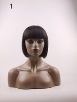 u partie perruques vierge cheveux ombre achat en gros de-Perruque Européenne et Américaine Femmes Cheveux Raides Cheveux Humains Mode Africaine Chapeaux Entiers