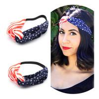 ingrosso fascia di giorno dell'indipendenza-American Flag Headband Girls Headwrap Elastic Hair Bands 4 luglio Independence Day USA Flag Turban Accessori per capelli