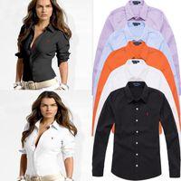 uzun kollu polo yaz toptan satış-Sıcak 2019 Yaz ABD RL POLO Marka Kadın Gömlek JC002 ünlü tasarımcı Fanshion Uzun Kollu kadın Tshirt Lady Yaka Bluzlar tees