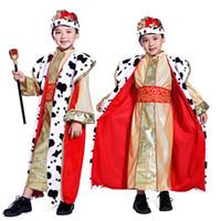 ingrosso figlio del costume del re-Holiday Cosplay Bambini Boy Prince Costume Bambini King Costumi di Halloween Festa dei bambini Fantasia Set di abbigliamento europeo