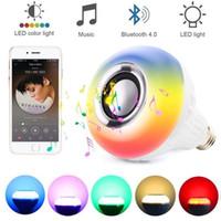lâmpadas de música bluetooth venda por atacado-E27 Inteligente RGB RGBW Sem Fio Bluetooth Speaker Lâmpada 110 V 220 V 12 W LED Lâmpada Luz Music Player Regulável Áudio 24 Teclas Controlador Remoto