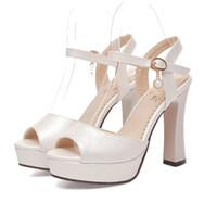 zapatos de tacón grueso de marfil al por mayor-Tallas grandes 33 a 40 41 42 zapatos de boda nupciales zapatos de tacón alto de diseño zapatos de vestir de mujer rosa azul marfil