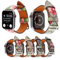 correa de reloj de cuero flor al por mayor-Correa de cuero para iwatch 4 3 2 1 Correa para Apple Watch Band 38mm 42mm 40mm 44mm Diseño floral de calidad superior