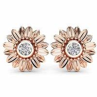 espárragos de girasol de oro al por mayor-Nueva CZ Stone Fashion Jewelry Femme Gold Silver Color Cute Sunflower Crystal Stud Pendientes para Mujeres