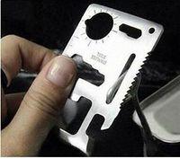 cuchillos militares envío gratis al por mayor-Envío gratis Nuevas Herramientas Múltiples 11 en 1 Multifunción Tarjeta de herramienta de supervivencia de Caza Al Aire Libre Camping Pocket Militar cuchillo de tarjeta de crédito