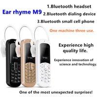 bluetooth микро-наушники оптовых-Аутентичные Rhyme Ear M9 Мини Bluetooth-гарнитура Маленький сотовый телефон BT3.0 Bluetooth Поддержка мобильных и Unicom 2G 3G 4G Micro SIM-карта
