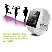 kostenloses s4 telefon großhandel-Armbanduhr Bluetooths intelligente U8 Uhr für iPhone 4 4S 5 5S Samsung S4 Anmerkung 3 androides Telefon HTC freies Verschiffen
