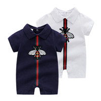 Wholesale infant bee for sale - Group buy Newborn designer Clothes Fashion Stripe Bee Lapel Infant Boys Romper Cute Cartoon embroider Short Sleeve Baby Jumpsuit Girl Onesie Y1603