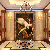 Wholesale nude art oil paintings resale online - large mural hotel living room bedroom entrance background Wall paper European oil painting character body art nude wallpaper