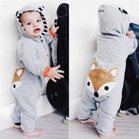ingrosso babys jumpsuits-2019 Inverno Babys Vestiti Toddler Neonato Neonate maschi Fox Stampa Manica Lunga Stripe Con Cappuccio Tuta Pagliaccetto Vestiti JY26