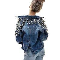 jaqueta jeans contas venda por atacado-Prego Talão Curto Manga Comprida Jaqueta Jeans Mulheres Outono Primavera Tops 2018 Primavera Coreano Lazer Coringa Voltar Único Breasted Casaco