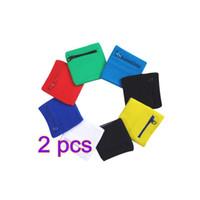 Wholesale wrist bands pockets resale online - 2Pcs Running Wrist Support Zipper Pocket Cotton Arm Band Wristband Outdoor Sweatband Support Wraps Strap Wrist Protect P5